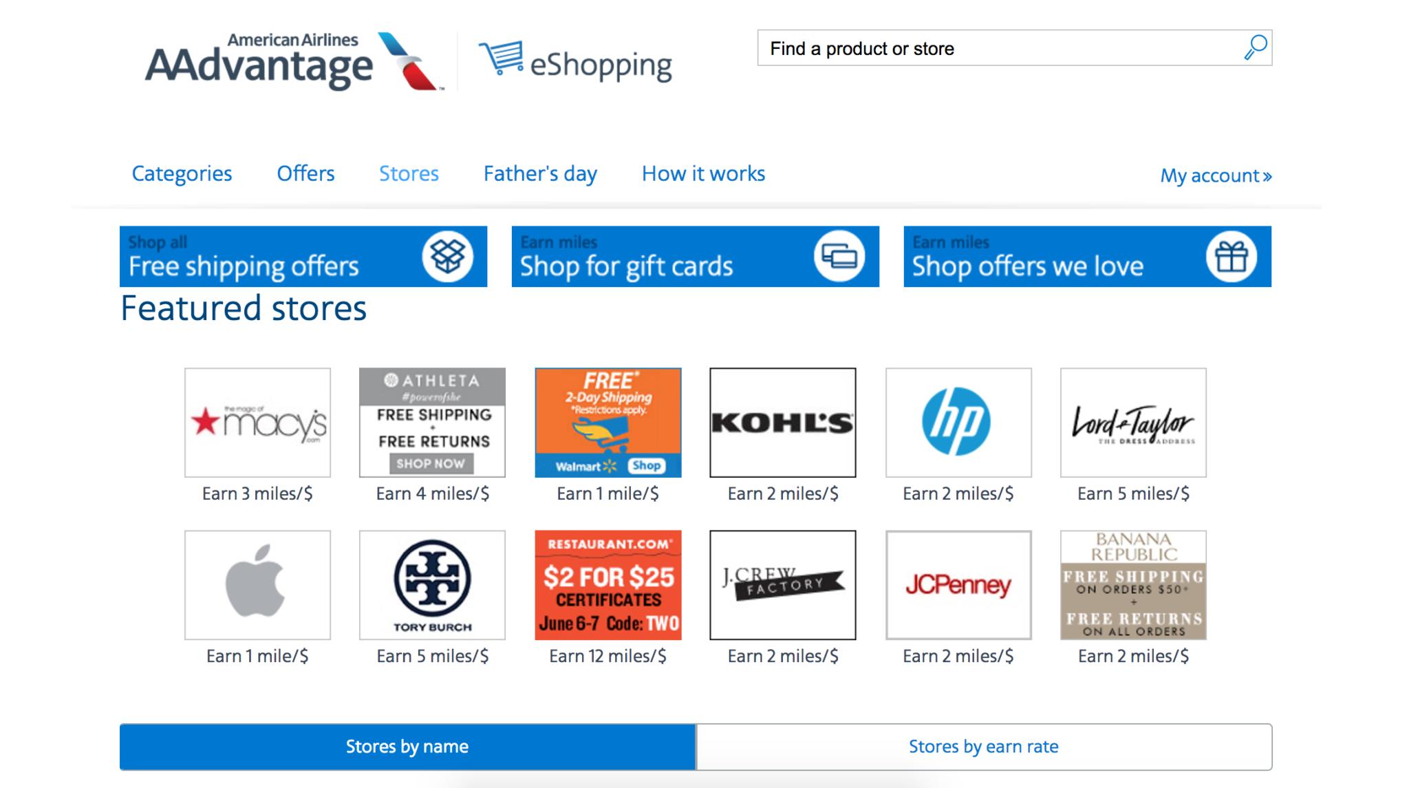 AAdvantage eShopping Homepage