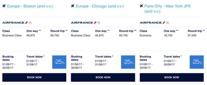 Air France KLM Flying Blue Promo Awards June 2017