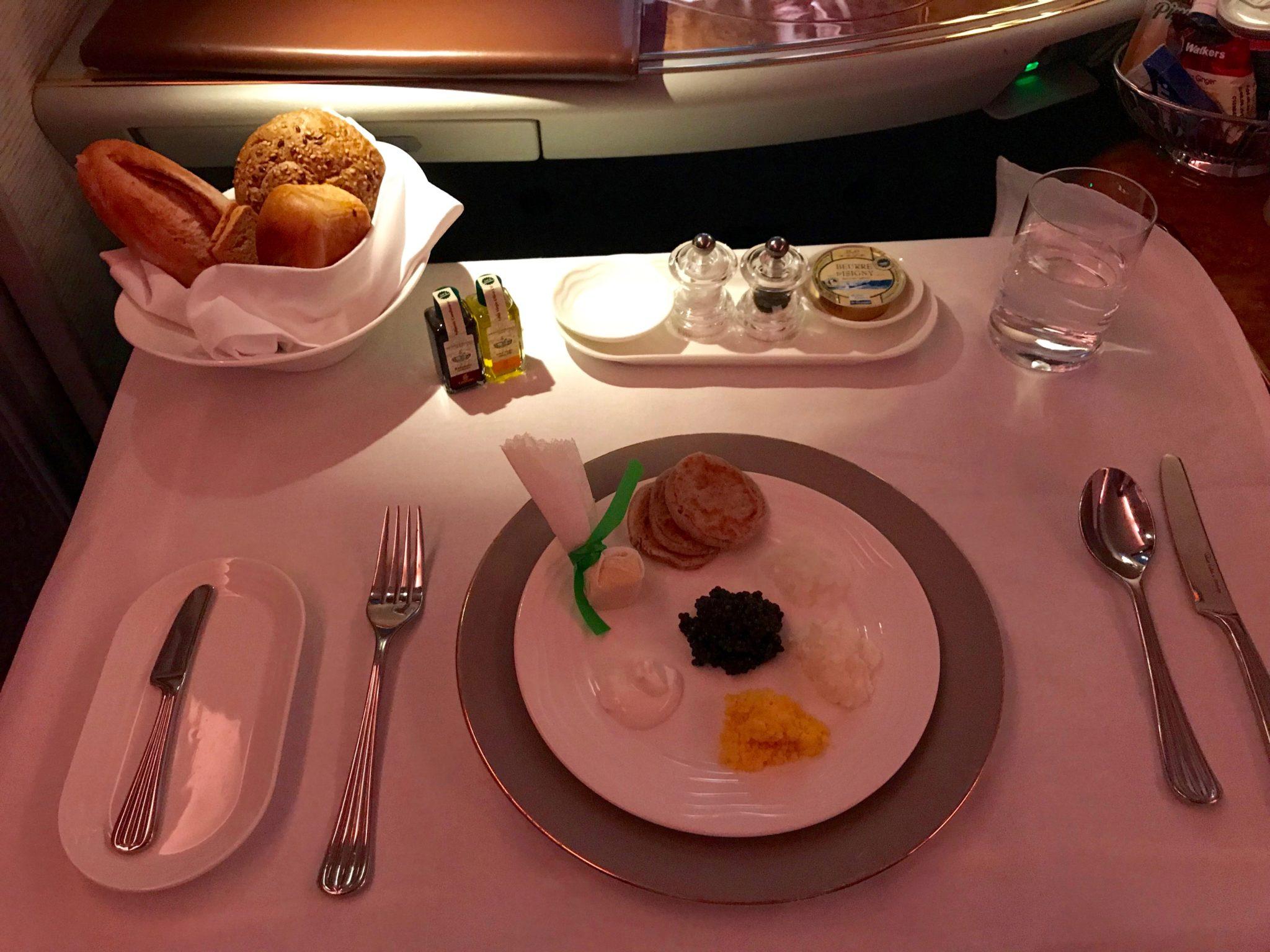 Emirates First Class A380 - Caviar