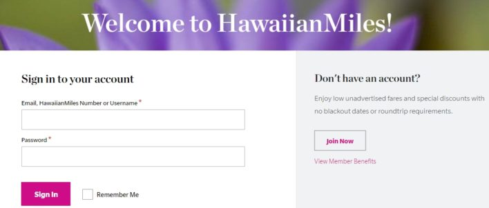 HawaiianMiles Login