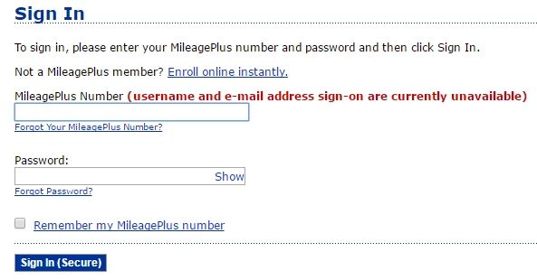 MileagePlus Sign-in