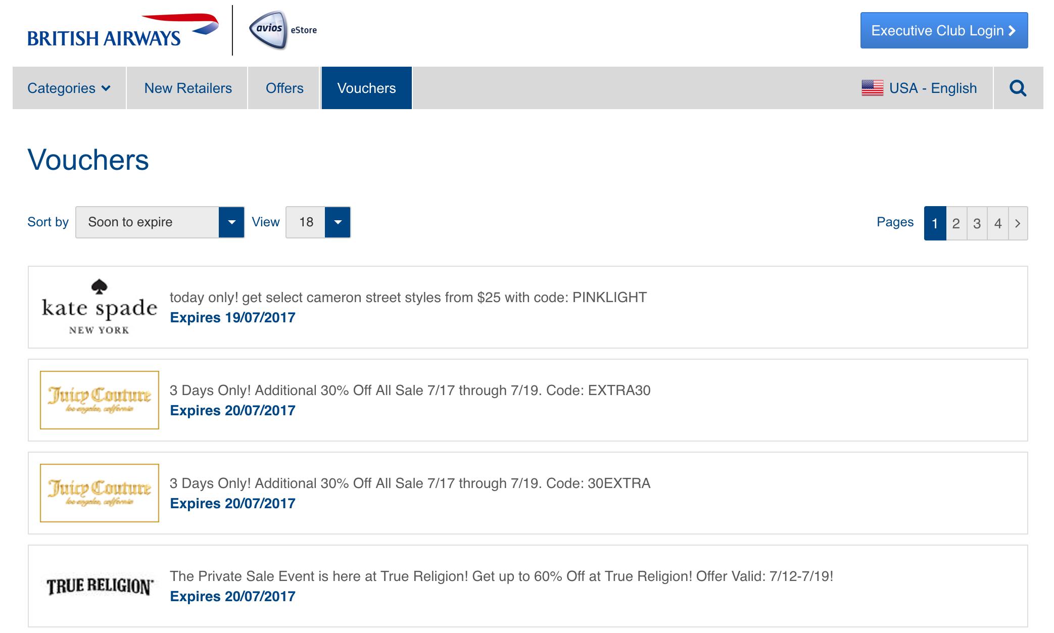 British Airways Avios eStore
