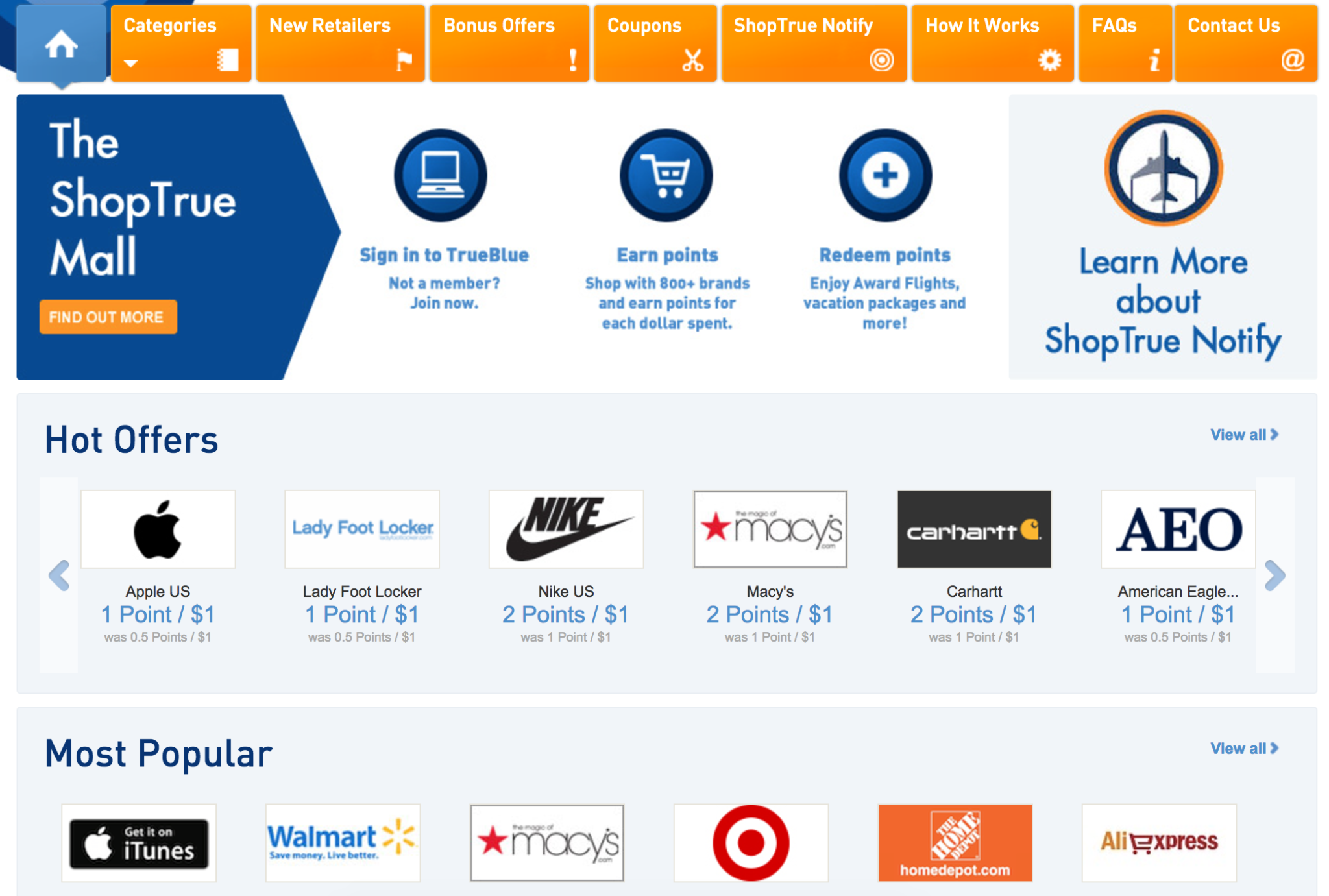 JetBlue ShopTrue Shopping Portal Homepage