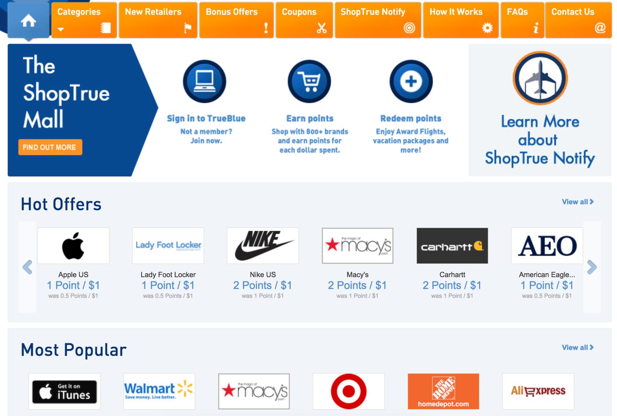 JetBlue ShopTrue Shopping Portal Homepage