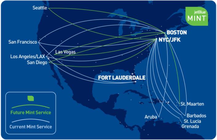 JetBlue Mint Route Map