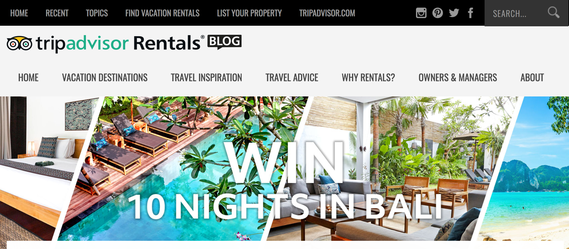 Trip Advisor 10 Nights in Bali Sweepstakes
