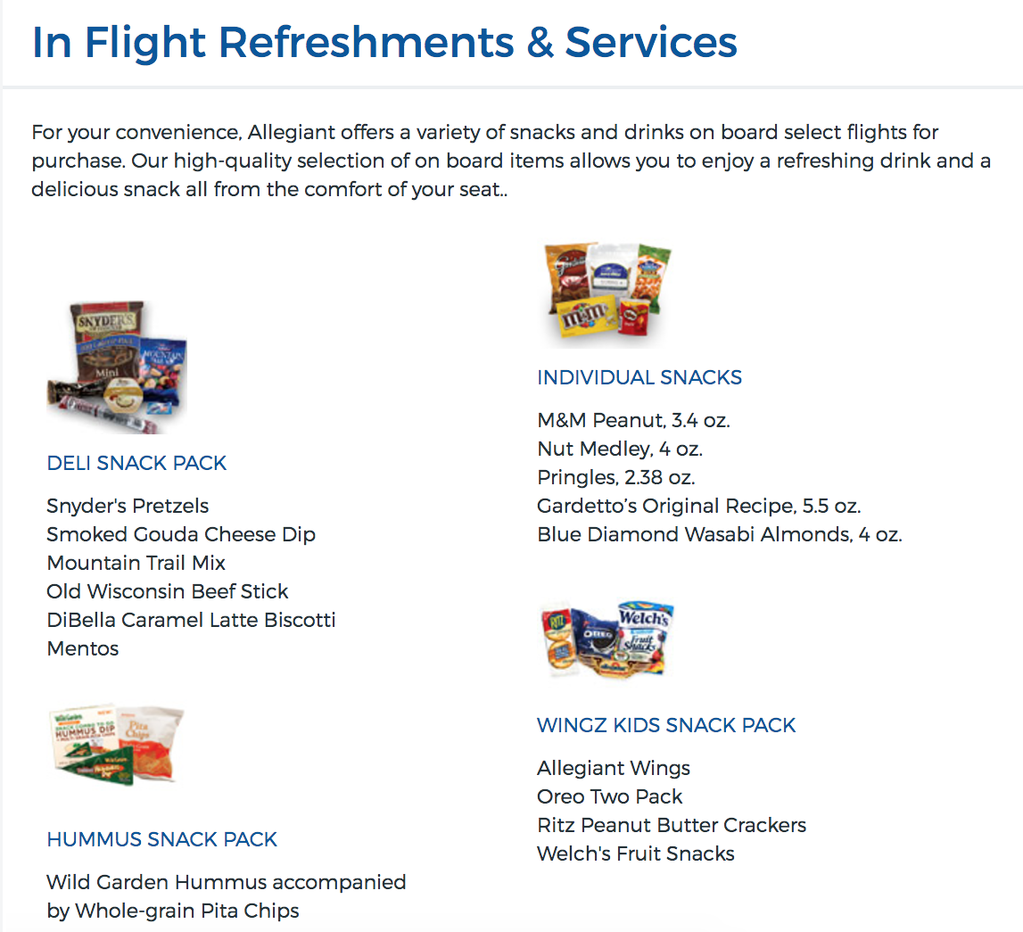 Allegiant In Flight Food