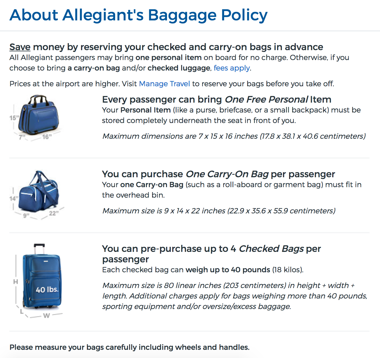 Allegiant's Baggage Policy