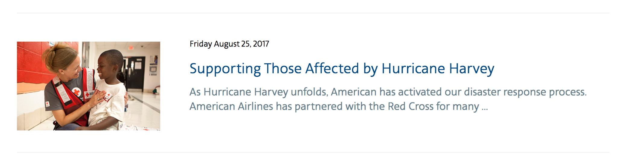 American Airlines Hurricane Harvey Relief Efforts