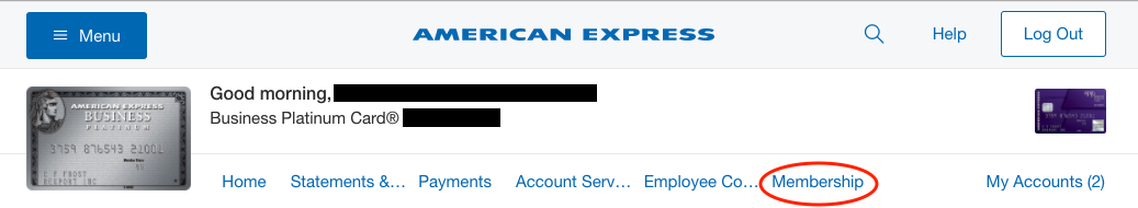 American express membership rewards the ultimate guide in depth amex menu bar clicking the membership button in the menu will you to all of your benefits colourmoves