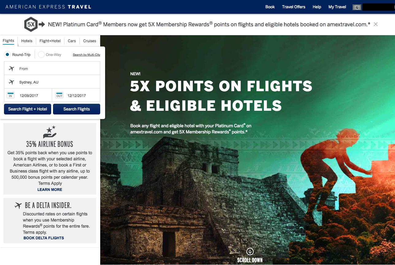 Booking Travel Through American Express
