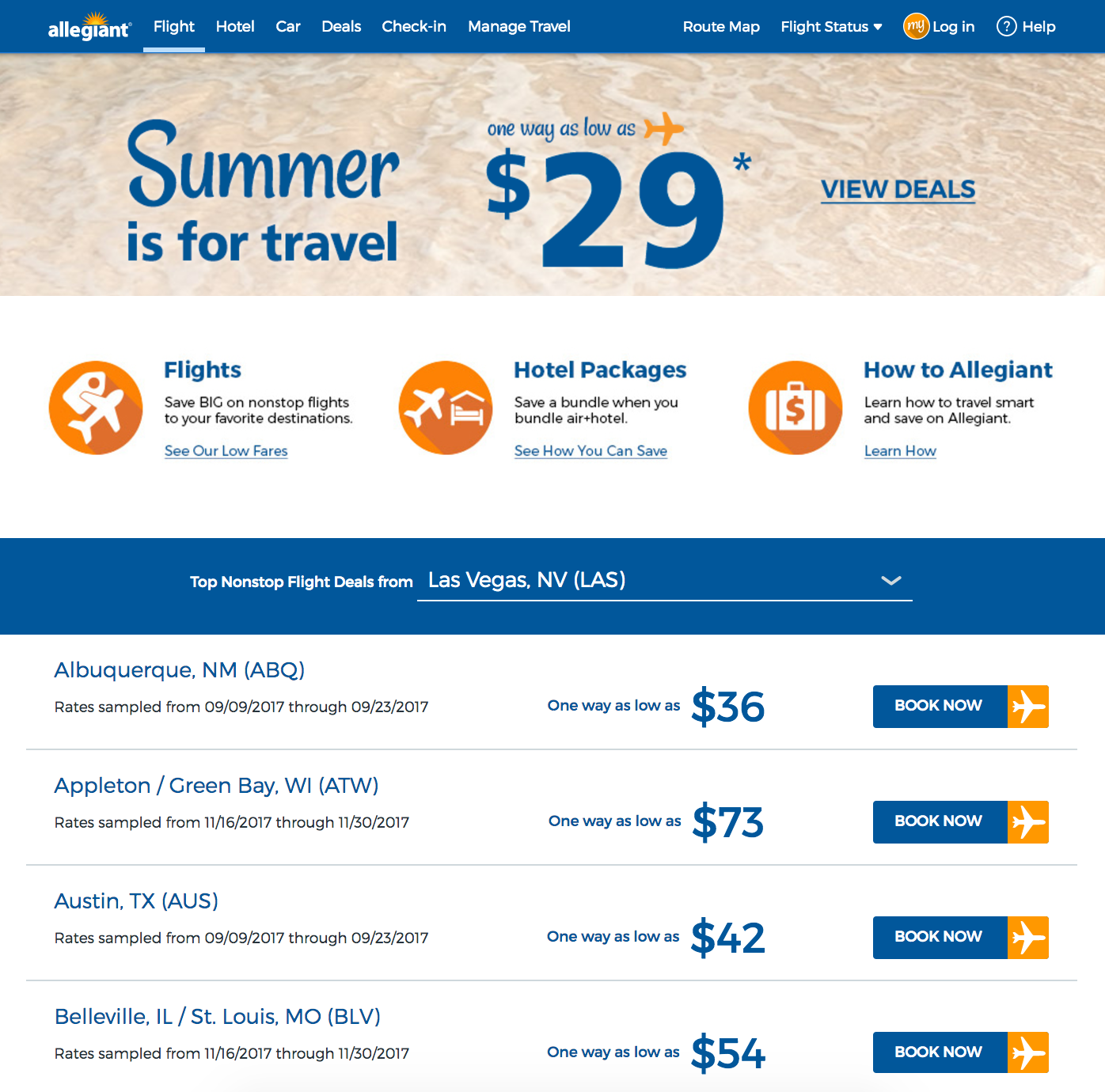 Example fares from Las Vegas on Allegiant Air