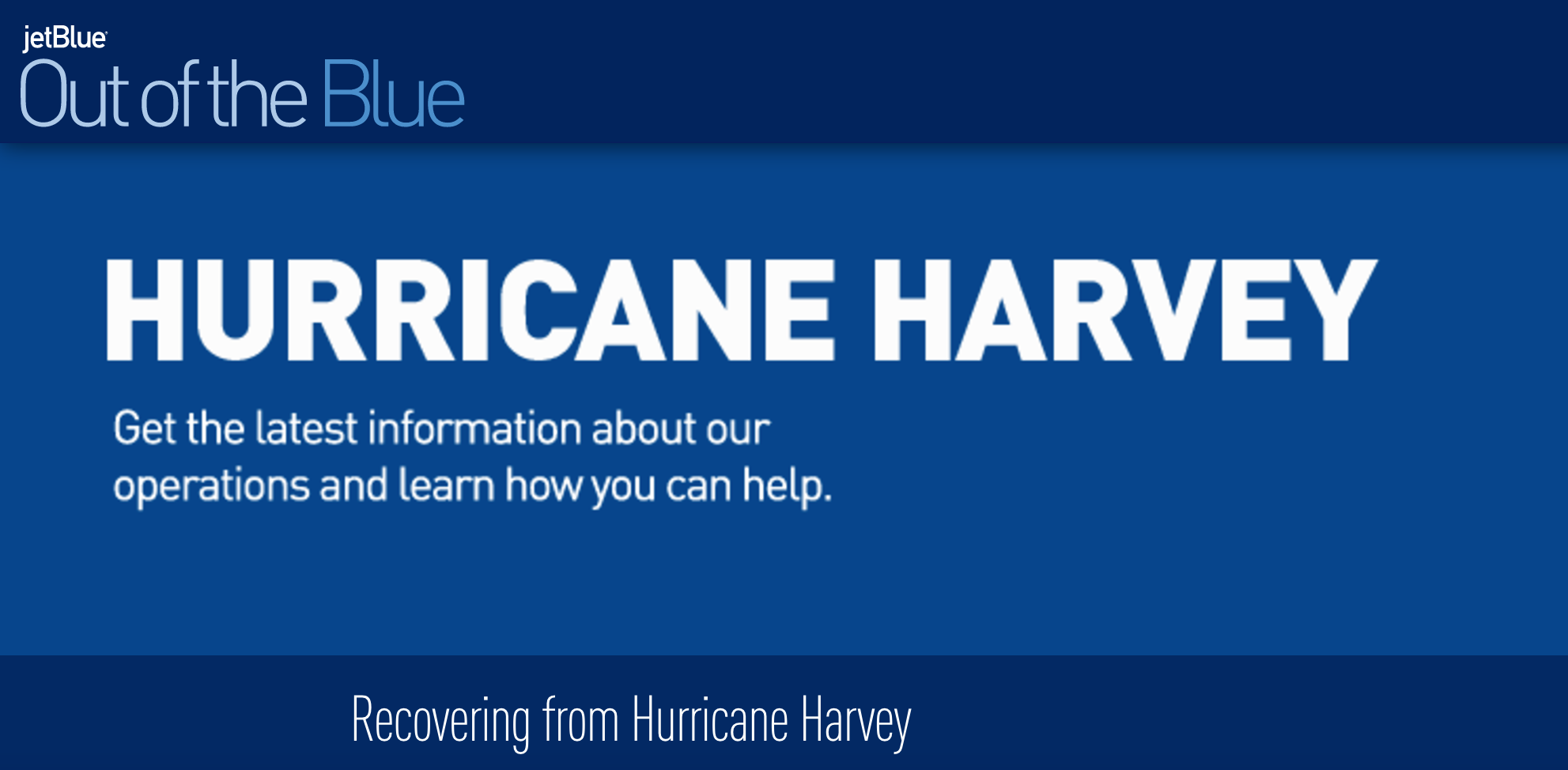 JetBlue Hurricane Harvey Relief Efforts