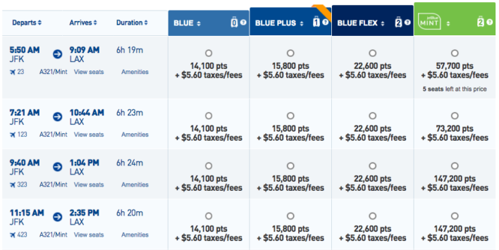 JetBlue Mint Points Booking