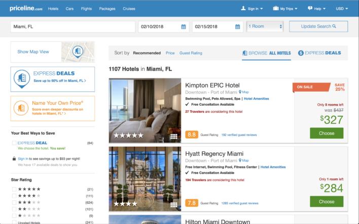 Priceline hotel results screen