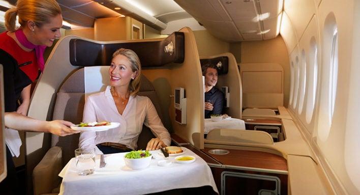 Qantas First Class Dining