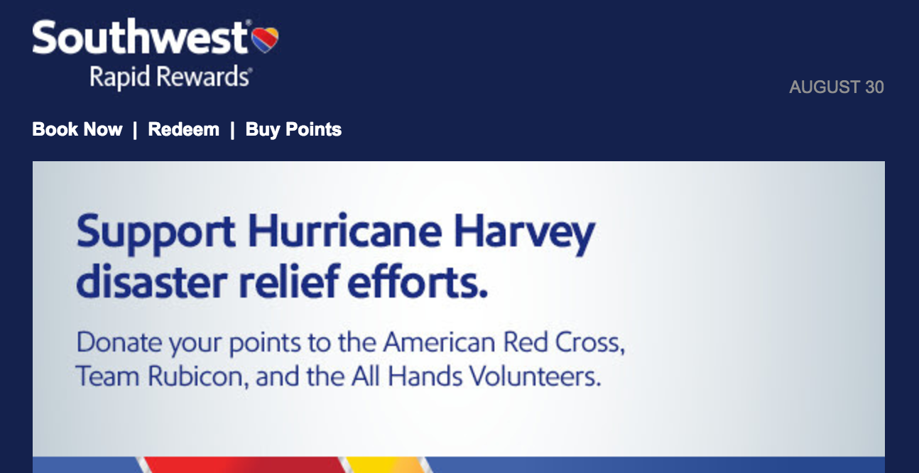 Southwest Airlines, Hurricane Harvey Relief