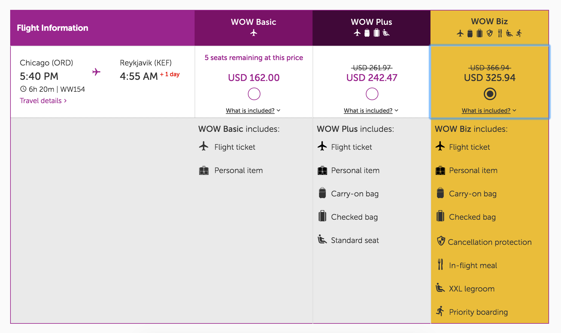 WOW air, Chicago to Reykjavik Fare Options