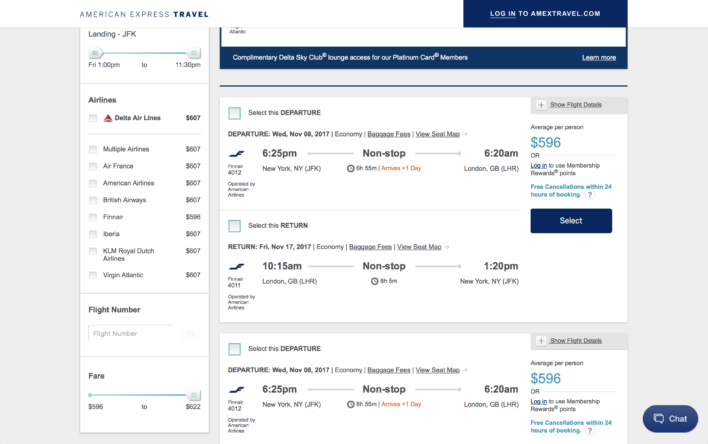 American Express Travel Flight Search Filters