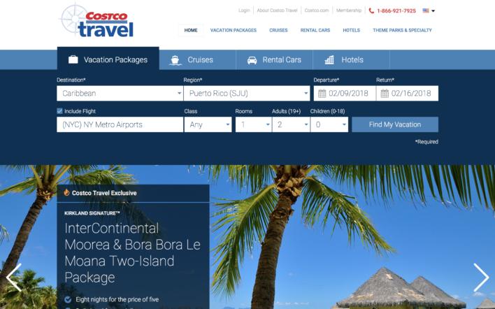 Costco Travel search screen