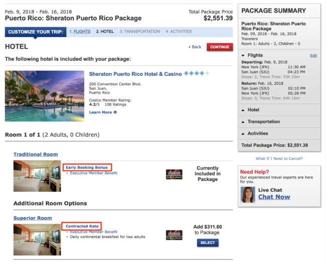 Costco Travel hotel rate terms