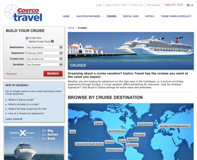 Costco travel cruise search screen