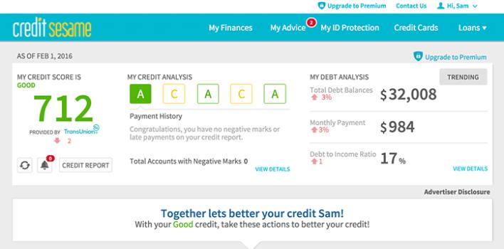 Credit Sesame Grade Overview