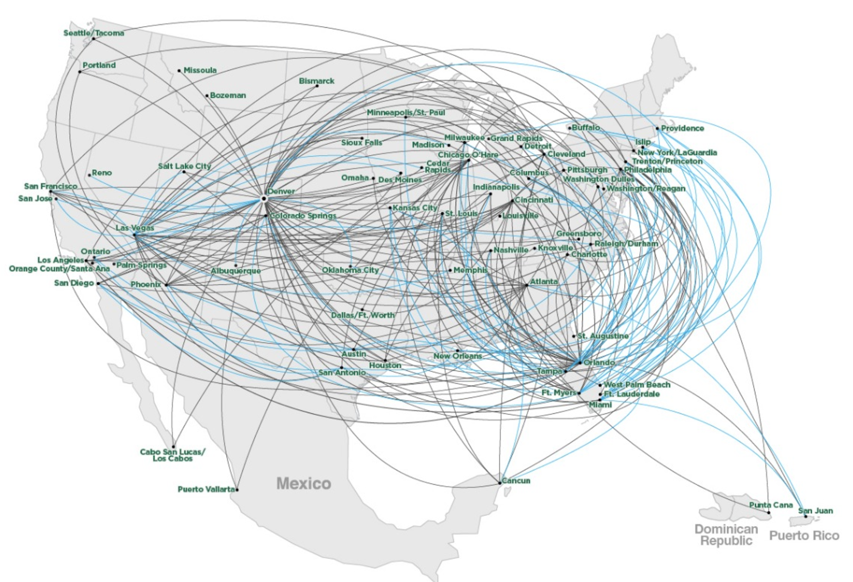Frontier Airlines Route Map as of Sept 2017