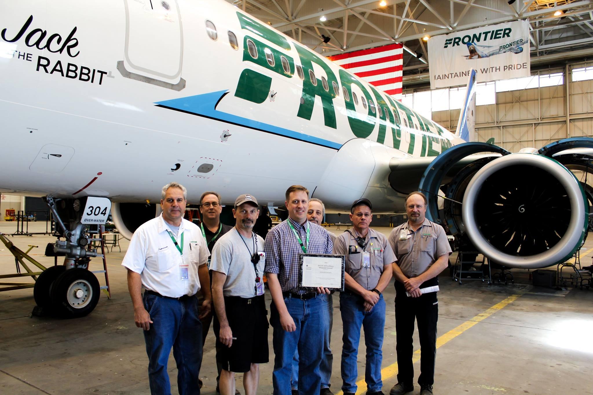 Frontier's Technical Operations Team Receiving the FAA Diamond Award