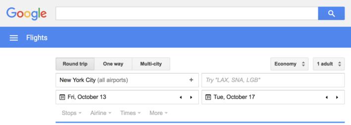 Google Flights Search Home