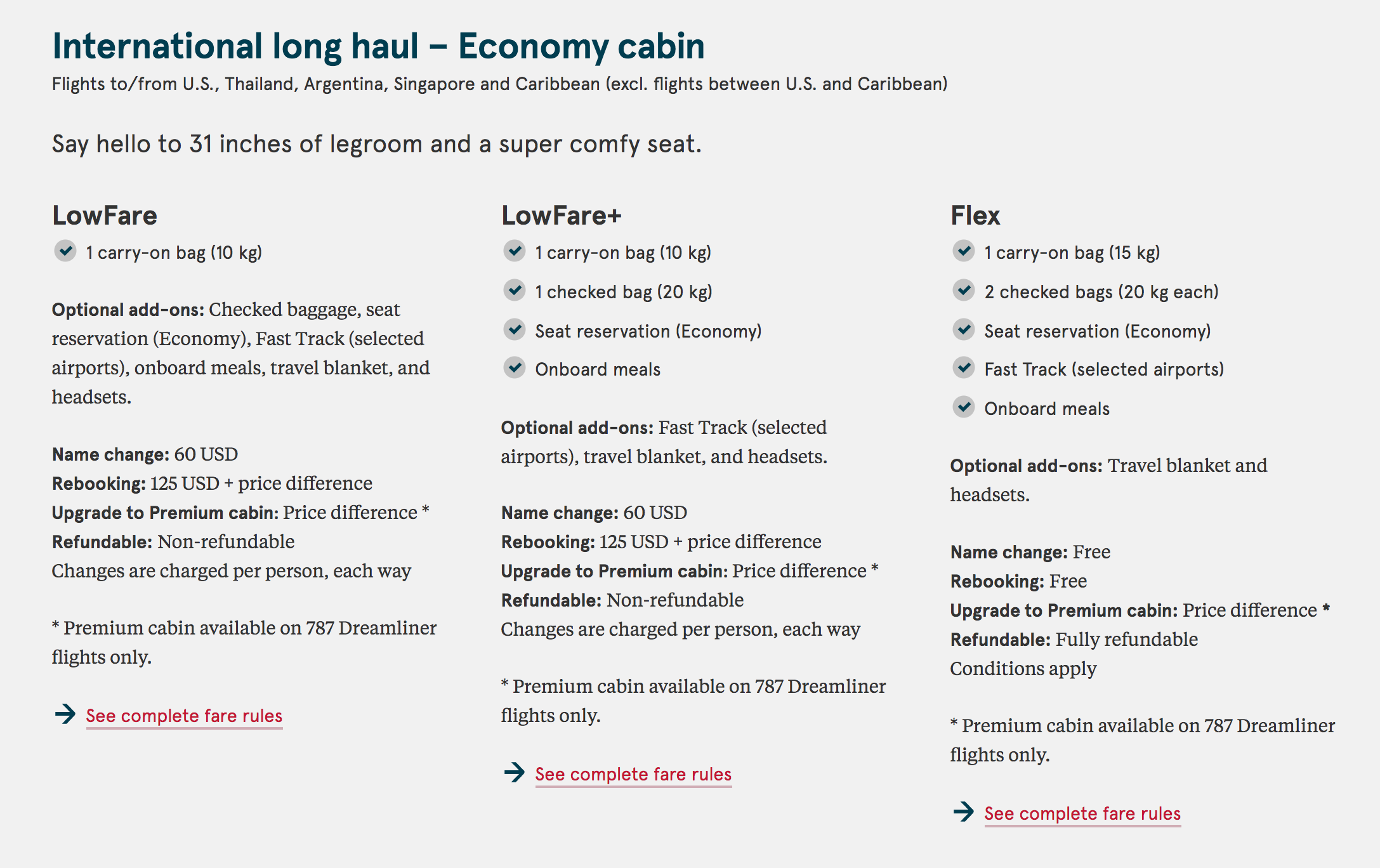 Norwegian Airlines, International Long-Haul Economy Fares