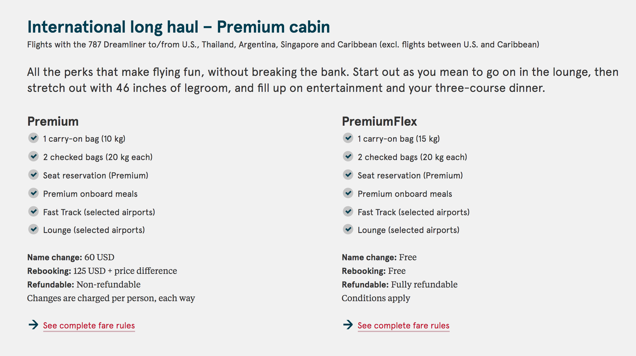 Norwegian Airlines, International Long-Haul Premium Fares
