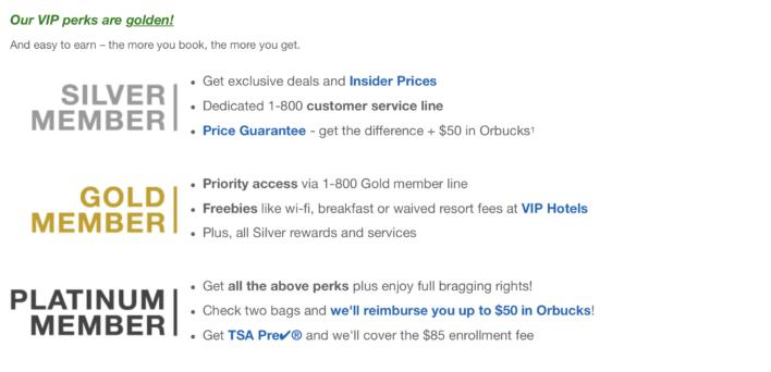 Orbitz rewards tiers