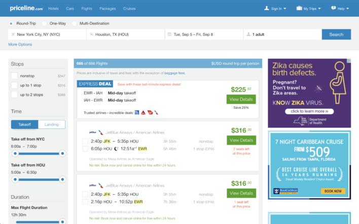 Priceline flight Express Deal
