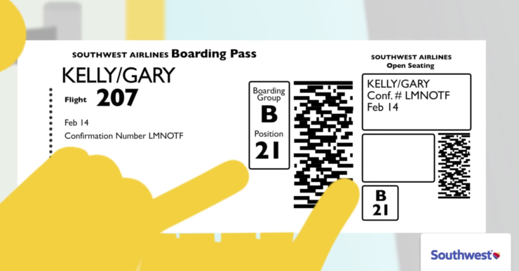 Southwest Boarding Pass, Boarding Group:Position