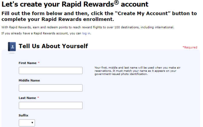 Southwest Enroll Rapid Rewards