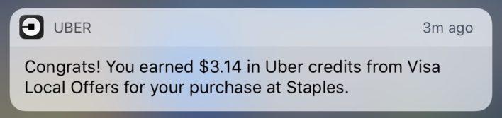 Uber Credit Alert