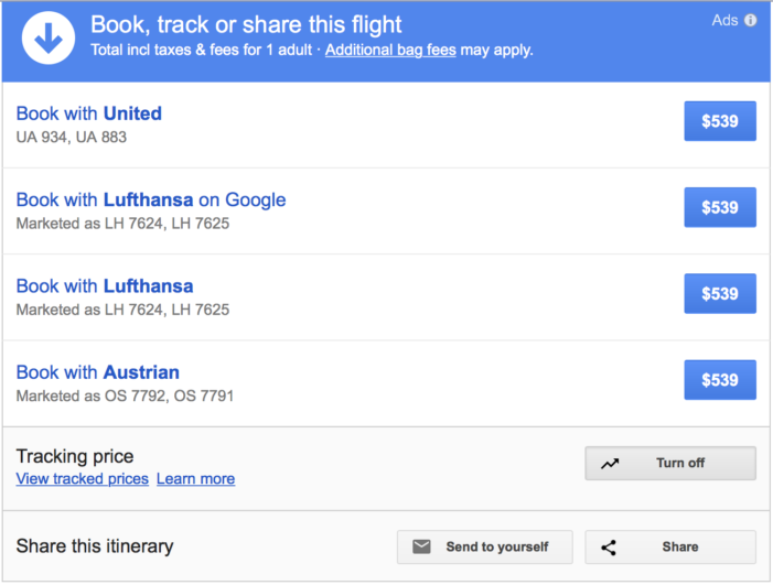 Google Flights booking