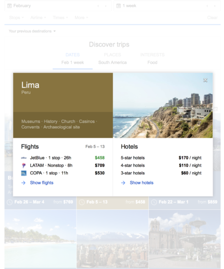 google flights discover destinations cards