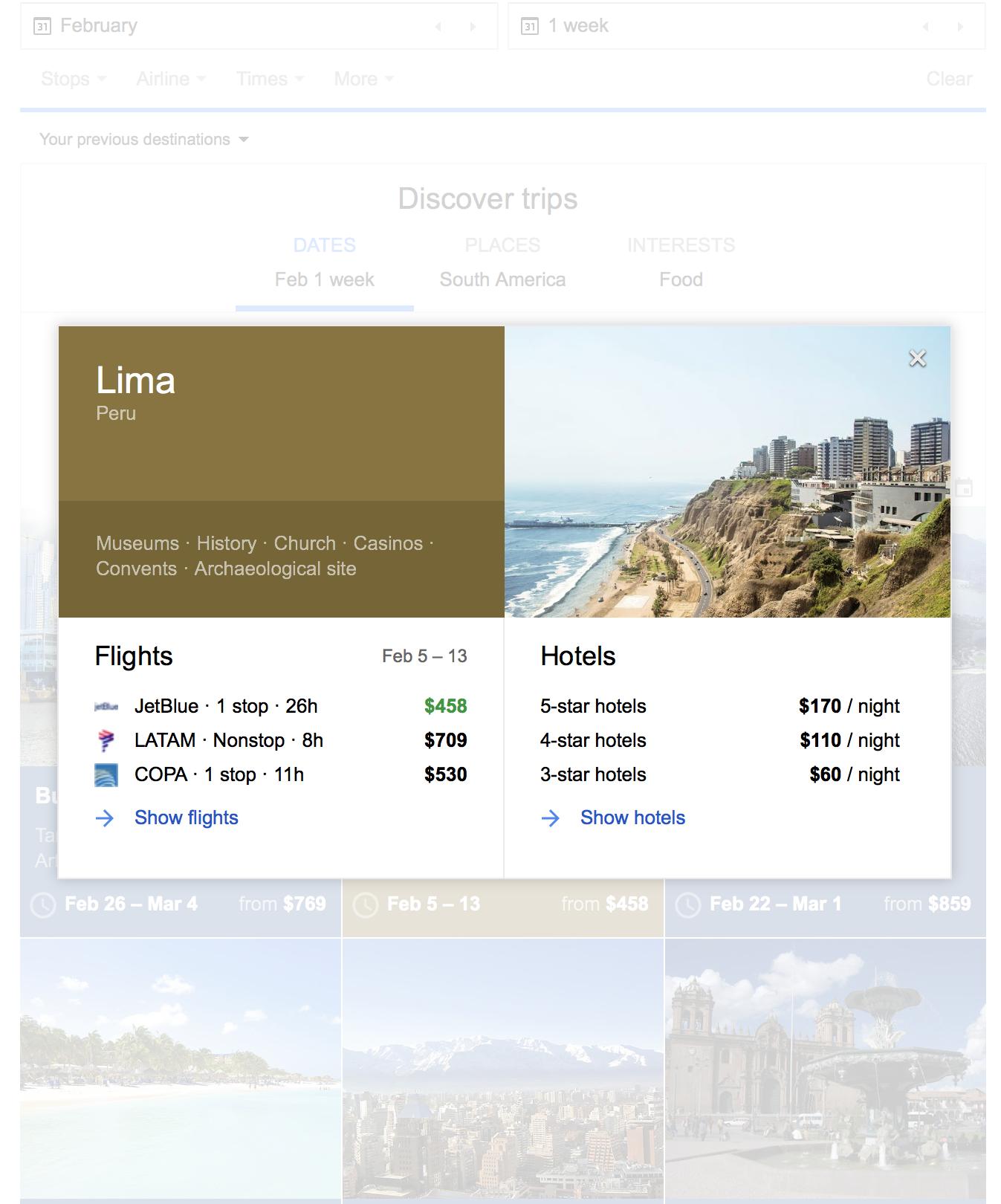 Google Flights Discover Destinations Cards
