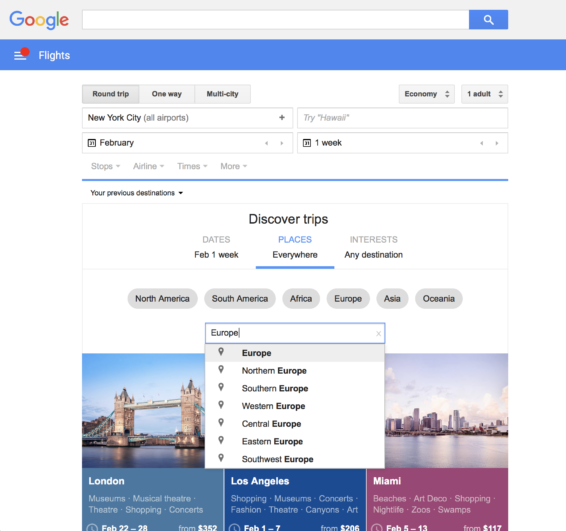 google flights discover destinations search