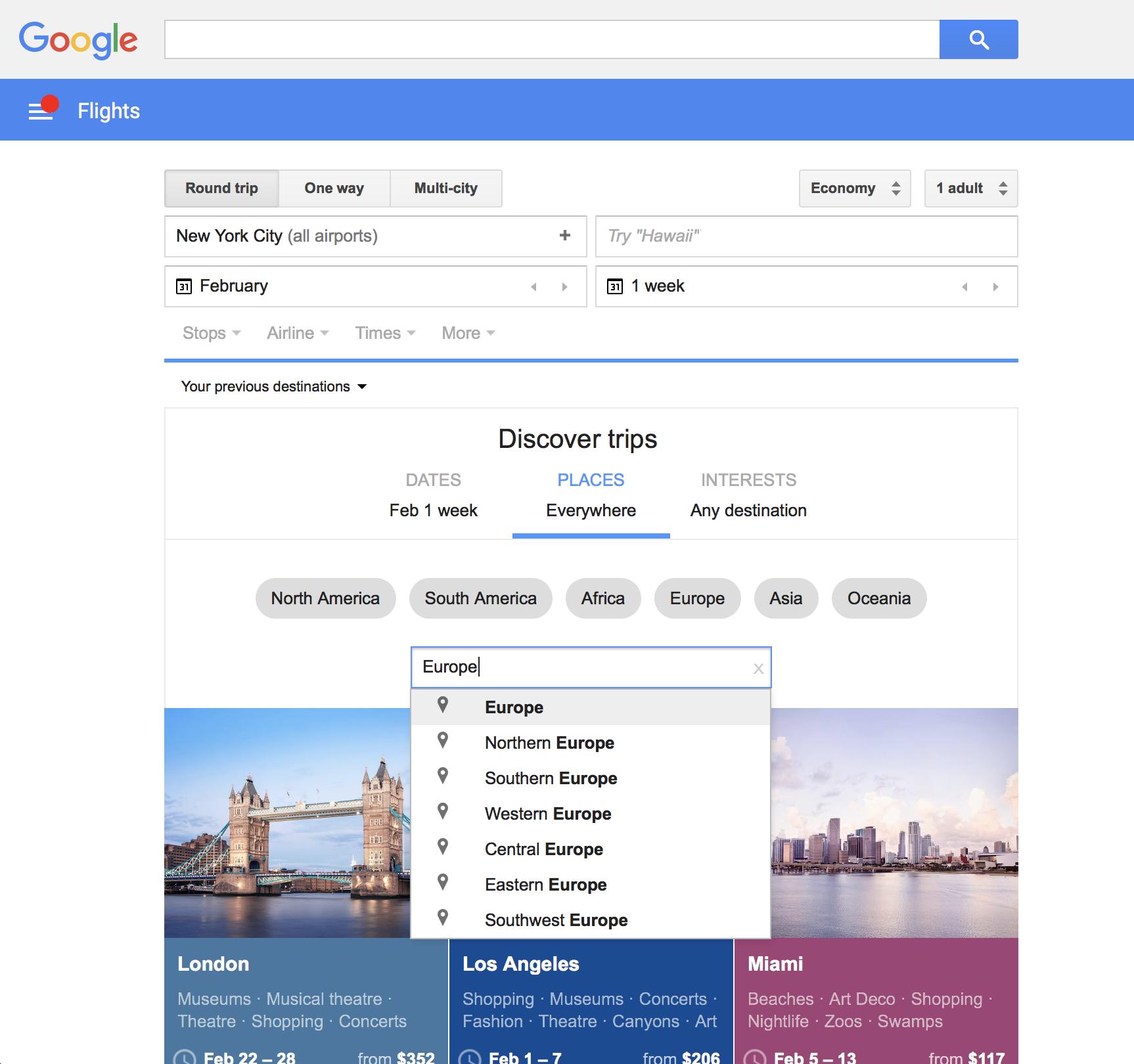 Google Flights Discover Destinations Search