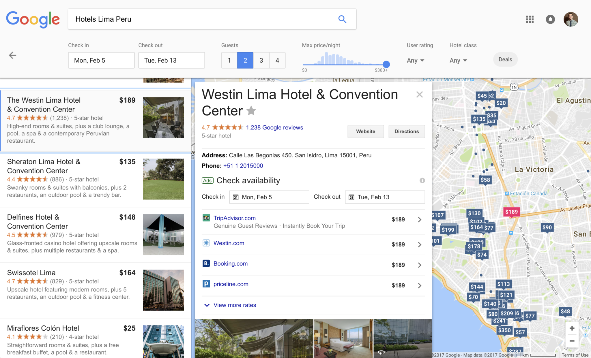google flights hotel search