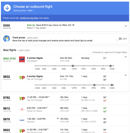 google flights legroom