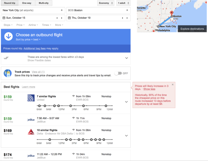 google flights price prediction