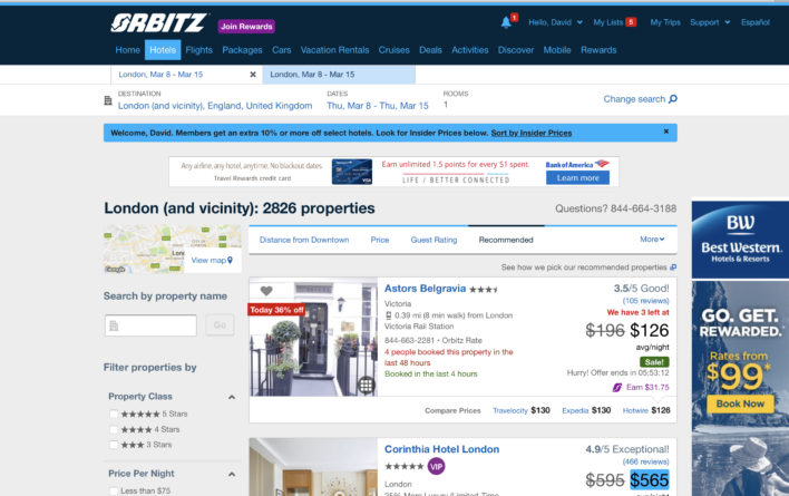 Orbitz Hotel search results