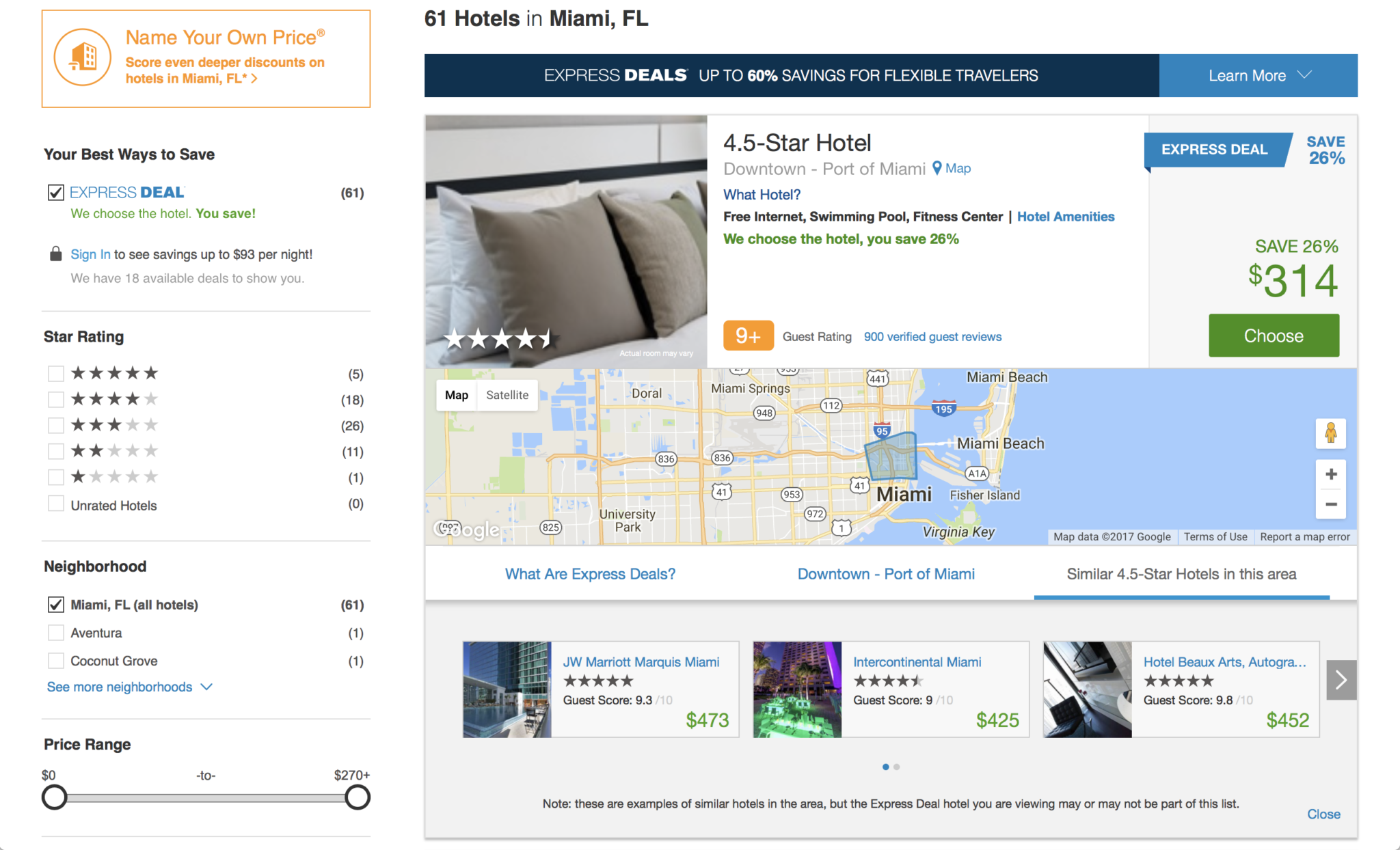 Priceline Express Deals Hotel Search Page