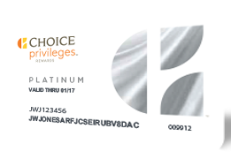 Choice Privileges Platinum member card
