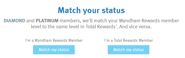 Wyndham Rewards Total Rewards Status Match