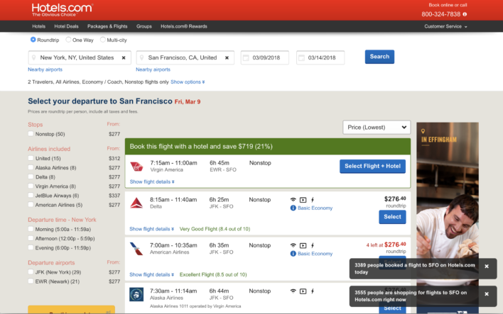 Hotels.com flight search results